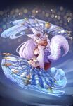 1girl animal_ears blue_eyes bow breasts erune fan fox_ears fox_tail gollizo granblue_fantasy highres large_breasts long_hair sideboob silver_hair socie_(granblue_fantasy) tail tail_bow tail_ornament twitter_username water