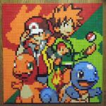 2boys backpack bag bangs baseball_cap blue_oak brown_eyes brown_hair charizard charmander closed_mouth fang gen_1_pokemon green_background green_eyes green_shirt hat highres lego lego_(medium) multicolored multicolored_background multiple_boys orange_hair photo_(medium) pixel_art poke_ball pokemon pokemon_(creature) red_(pokemon) red_background red_headwear red_vest shirt short_hair smile spiky_hair squirtle unconventional_media venusaur vest yellow_bag you_rei_(blowback)
