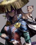 1girl cape coppa cosplay fuurai_no_shiren grey_background highres hololive jampan0823 mouth_hold nekomata_okayu one_eye_covered purple_hair sandogasa shiren_(fuurai_no_shiren) shiren_(fuurai_no_shiren)_(cosplay) sketch stalk_in_mouth violet_eyes