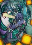 1boy afloat ahoge arm_tattoo bare_shoulders blurry blurry_foreground closed_mouth dhfz181 eyeshadow fetal_position genshin_impact glowing green_hair highres lantern light_green_hair lying makeup male_focus mask mask_removed multicolored_hair on_side paper_lantern partially_submerged red_eyeshadow solo streaked_hair tattoo water wet xiao_(genshin_impact) yellow_eyes