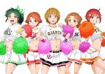 5girls abs anchor baseball_jersey belt bike_shorts black_belt bow_skirt brown_eyes cheerleader chiba_lotte_marines closed_mouth clothes_writing commentary_request diagonal-striped_ribbon elbow_on_another's_shoulder english_text frilled_skirt frills front-tie_top fukuoka_softbank_hawks futari_wa_precure futari_wa_precure_splash_star green_eyes green_hair green_ribbon grin hair_ornament hair_ribbon hairclip hand_on_hip hands_on_hips hanshin_tigers highres hino_akane_(smile_precure!) hiroshima_touyou_carp holding holding_pom_poms hyuuga_saki looking_at_viewer medium_hair midorikawa_nao midriff miniskirt misumi_nagisa multiple_girls natsuki_rin nippon_professional_baseball open_mouth orange_eyes pleated_skirt pom_poms ponytail precure red_eyes redhead ribbon satou_yasu series_connection short_hair short_sleeves shorts shorts_under_skirt simple_background skirt smile smile_precure! standing star_(symbol) star_hair_ornament v-shaped_eyes white_background white_skirt wristband yellow_eyes yes!_precure_5 yomiuri_giants