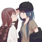 2girls baseball_cap blue_hair braid brown_hair eye_contact hand_on_another's_hat hat inuko_(ink0425) jacket long_hair looking_at_another low_twin_braids low_twintails mouth_hold multiple_girls off_shoulder original twin_braids twintails white_background