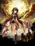 1girl absurdres adapted_costume black_footwear black_gloves black_legwear black_shorts brown_coat brown_hair clouds coat cosplay flat_chest full_body genshin_impact gloves gradient_hair highres holding holding_spear holding_weapon hu_tao huge_filesize kneehighs long_hair long_sleeves looking_at_viewer multicolored_hair pellas_(panix2383) polearm red_eyes shoes short_shorts shorts smile solo spear star-shaped_pupils star_(symbol) sunlight symbol-shaped_pupils thighs twintails very_long_hair weapon zhongli_(genshin_impact) zhongli_(genshin_impact)_(cosplay)