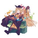 2girls artist_name black_dress black_footwear black_headwear blonde_hair boots chair constellation_print detached_sleeves dress eyebrows_visible_through_hair green_skirt hand_on_own_chin head_rest highres junko_(touhou) kyuutame long_hair looking_at_another matara_okina multiple_girls neck_ribbon pom_pom_(clothes) red_eyes ribbon shirt sitting sitting_on_person skirt tabard touhou very_long_hair white_shirt wide_sleeves yellow_eyes yelow_ribbon yuri