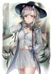 1girl azur_lane black_headwear butterfly_hair_ornament buttons cup dress dunkerque_(afternoon_aphrodite)_(azur_lane) dunkerque_(azur_lane) eyewear_on_head french_flag grey_hair hair_ornament hand_in_hair holding holding_cup jacket looking_at_viewer official_alternate_costume partially_unbuttoned red-tinted_eyewear red_eyes solo sunglasses tinted_eyewear uroko_(uonomekouro) white_dress white_jacket