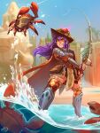 1girl absurdres blue_sky cape crab dang_(runescape) ear_piercing fishing fishing_rod hat highres long_hair momo-deary parted_lips piercing purple_hair runescape sky smile soaking_feet solo standing thigh-highs tree water waterfall wide_shot yellow_eyes