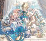 abs ahoge aladdin_(sinoalice) arabian_clothes blanket blonde_hair blue_eyes bracelet building chest_plate closed_mouth cup curtains drinking_glass food gem hanazome_march highres hot_dog ice_cream indoors jewelry lamp male_focus muscular pig pillow plate scroll short_hair signature sinoalice sitting smile three_little_pigs_(sinoalice) window wine_glass