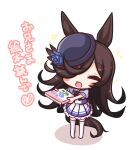 1girl :d animal_ears bangs black_hair black_headwear blue_flower blue_rose blue_shirt blush_stickers book chibi closed_eyes colored_shadow commentary_request eyebrows_visible_through_hair flower full_body hair_over_one_eye hat hat_flower highres holding holding_book horse_ears horse_girl horse_tail komakoma_(magicaltale) long_hair no_shoes open_mouth outstretched_arms pleated_skirt puffy_short_sleeves puffy_sleeves rice_shower_(umamusume) rose school_uniform shadow shirt short_sleeves skirt smile solo sparkle standing tail thigh-highs tilted_headwear tracen_school_uniform translation_request umamusume very_long_hair white_background white_legwear white_skirt