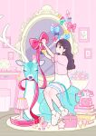 1girl alarm_clock antlers aqua_ribbon black_hair blue_bow blue_ribbon book book_stack bow clock cup deer earrings food hair_ornament hairclip highres ice_cream indoors jewelry long_hair mirror original phone pink_bow pink_ribbon pink_shirt pink_theme plaid_neckwear plate purple_bow ribbon shirt shirt_tucked_in shoes short_sleeves sitting skirt socks solo table white_footwear white_legwear white_skirt yellow_neckwear yoshimon