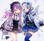 2girls absurdres amane_kanata angel_wings arrow_(symbol) bare_legs belt belt_buckle beret black_dress black_headwear black_neckwear black_ribbon black_shirt black_skirt blue_eyes blue_hair blue_legwear blue_skirt blush bow bowtie breasts buckle closed_mouth commentary_request cowboy_shot cross cross_earrings demon_girl demon_tail dotted_line dress earrings feathered_wings frilled_shirt frilled_skirt frills gradient_skirt green_eyes grey_background grey_hair grey_jacket hair_ornament hair_ribbon hair_rings hairclip hat highres hololive jacket jewelry leg_tattoo looking_at_viewer medium_breasts medium_hair multicolored_hair multiple_belts multiple_bows multiple_earrings multiple_girls off-shoulder_jacket open_mouth piercing pink_hair pleated_skirt pointy_ears pom_pom_(clothes) purple_hair ribbon shirt simple_background single_garter single_thighhigh skirt sleeveless sleeveless_shirt smile streaked_hair syukonbu tail tail_ornament tail_piercing tattoo thigh-highs tokoyami_towa twintails wavy_hair white_headwear white_jacket wings x_hair_ornament