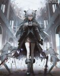 1girl animal_ears arknights black_coat black_dress black_footwear blue_eyes boots character_name coat commentary dress full_body hair_ornament hairclip holding holding_sword holding_weapon lappland_(arknights) lappland_(refined_horrormare)_(arknights) lococo:p looking_at_viewer messy_hair official_alternate_costume oripathy_lesion_(arknights) solo statue sword typo walking weapon white_hair wolf_ears