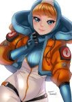 1girl apex_legends artist_name bangs blue_bodysuit blue_eyes blue_gloves blue_headwear bodysuit cable clenched_hand dated gloves highres hood hooded_jacket jacket light_smile looking_at_viewer orange_jacket ramune02 ribbed_bodysuit scar scar_on_cheek scar_on_face smile solo wattson_(apex_legends) white_bodysuit