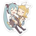 2girls aqua_hair aqua_neckwear arm_warmers bangs bare_shoulders black_collar black_legwear black_shorts black_skirt black_sleeves blonde_hair bow carrying chibi closed_eyes collar commentary detached_sleeves full_body grey_shirt grin hair_bow hair_ornament hairclip hatsune_miku headphones highres kagamine_rin leg_warmers long_hair m0ti miniskirt multiple_girls neckerchief necktie open_mouth pleated_skirt princess_carry sailor_collar school_uniform shirt short_hair short_shorts shorts shoulder_tattoo skirt sleeveless sleeveless_shirt smile swept_bangs tattoo thigh-highs twintails very_long_hair vocaloid white_background white_bow white_shirt yellow_neckwear zettai_ryouiki
