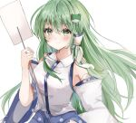 1girl bare_shoulders blue_skirt blush breasts detached_sleeves frog_hair_ornament gohei green_eyes green_hair hair_ornament hair_tubes hand_up highres holding holding_stick kochiya_sanae large_breasts long_hair maruro shirt simple_background skirt smile snake_hair_ornament solo stick touhou upper_body very_long_hair white_background white_shirt wide_sleeves