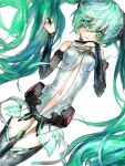 1girl aqua_eyes aqua_hair aqua_nails black_gloves bridal_gauntlets clothing_cutout cowboy_shot gloves hair_between_eyes hands_up hatsune_miku korpokkur_kne long_hair looking_at_viewer simple_background skindentation solo stomach_cutout twintails very_long_hair vocaloid white_background
