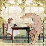 1girl animal animal_in_clothes barefoot book brown_hair chair child crocodile crocodilian cup dress formal from_side highres holding holding_book indoors ivy jacket leaf long_hair original pants plant reading rt0no sitting suit table teacup teapot vines white_dress window