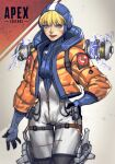 1girl absurdres apex_legends bangs blue_bodysuit blue_eyes blue_headwear bodysuit breasts copyright_name electricity hand_on_hip highres hood jacket looking_at_viewer orange_jacket parted_lips ribbed_bodysuit scar scar_on_cheek scar_on_face small_breasts smile solo thigh_strap thinker_0616 wattson_(apex_legends) white_bodysuit
