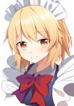 1girl bangs blonde_hair blue_dress bow closed_mouth dress e.o. eyebrows_visible_through_hair hair_between_eyes highres maid_headdress md5_mismatch mugetsu_(touhou) red_bow red_neckwear short_hair smile solo touhou touhou_(pc-98) yellow_eyes