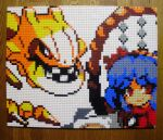 1girl alternate_color bangs blue_hair closed_mouth eyebrows_visible_through_hair gen_2_pokemon hair_ornament highres leaf_hair_ornament lego lego_(medium) looking_at_viewer mirror photo_(medium) pixel_art pokemon pokemon_(creature) red_eyes red_shirt rope shide shimenawa shiny_pokemon shirt short_hair simple_background smile steelix teeth touhou unconventional_media upper_body v-shaped_eyebrows white_background yasaka_kanako you_rei_(blowback)