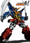artist_name autobot blue_eyes copyright_name dual_wielding english_commentary glowing glowing_eyes gokenzan holding holding_sword holding_weapon lam_atek logo looking_at_viewer mecha no_humans science_fiction shadow solo sword transformers transformers_go watermark weapon web_address