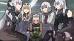 1boy 4girls :d ak-12_(girls_frontline) ak-15_(girls_frontline) an-94_(girls_frontline) ares_(girls_frontline) bangs bare_shoulders blue_eyes blush fingerless_gloves girls_frontline gloves hairband highres licking_lips long_hair multiple_girls open_clothes open_mouth partially_fingerless_gloves platinum_blonde_hair rpk-16_(girls_frontline) short_hair shota silver_hair sitting smile tactical_clothes tongue tongue_out variasii violet_eyes yegor_(girls_frontline) younger