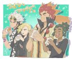 4boys :t alder_(pokemon) arm_tattoo black_hair black_jacket black_shirt blonde_hair blush_stickers border closed_mouth commentary_request dark-skinned_male dark_skin eating eyewear_on_head food food_on_face gladion_(pokemon) green_eyes green_hair guzma_(pokemon) hau_(pokemon) holding hood hoodie jacket looking_back malasada male_focus multicolored_hair multiple_boys orange_hair outside_border pokemon pokemon_(game) pokemon_bw pokemon_sm ponytail redhead sanwari_(aruji_yume) shirt short_hair short_ponytail short_sleeves sunglasses tattoo team_skull tied_hair translation_request two-tone_hair undercut watch watch white_border white_hair yellow-framed_eyewear |d