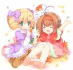 2girls ahoge arche_plumfield bangs barefoot blonde_hair blush book boots bow brown_footwear capelet chiffon_(fortune_summoners) closed_mouth commentary_request dress drill_hair eyebrows_visible_through_hair fortune_summoners full_body green_eyes hair_between_eyes hair_bow hairband hizukiryou holding holding_book leaf looking_at_another medium_hair multiple_girls open_mouth pink_dress purple_bow purple_dress rabbit red_capelet red_hairband shirt short_hair simple_background sitting smile stella_mayberk two_side_up white_background white_shirt