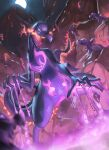 blurry breathing_fire commentary_request evolutionary_line fire from_below gen_7_pokemon highres lizard looking_down moon night open_mouth outdoors poison pokemon pokemon_(creature) salandit salazzle sky spareribs standing tongue