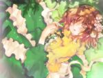 1girl bangs blush braid brown_eyes brown_hair capelet commentary_request dappled_sunlight dress eyebrows_visible_through_hair feet_out_of_frame flower frilled_capelet frills green_dress hair_between_eyes hair_flower hair_ornament hizukiryou looking_at_viewer open_mouth original short_hair solo sunlight white_flower yellow_capelet