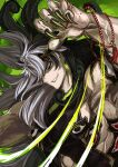 1boy abs alternate_hairstyle ashiya_douman_(fate) asymmetrical_hair bead_bracelet beads black_eyes black_hair black_nails bracelet curly_hair earrings evil_smile eyeshadow fate/grand_order fate_(series) fighting_stance fingernails green_eyeshadow green_lips green_nails hair_between_eyes jewelry long_hair magatama magatama_earrings makeup male_focus motion_lines multicolored_hair muscular muscular_male nonono_nagata official_alternate_costume pectorals sharp_fingernails sidepec single_bare_shoulder smile solo two-tone_hair upper_body very_long_fingernails very_long_hair white_hair