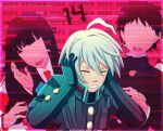 1girl 2boys ahoge android black_gloves black_jacket border brown_hair cheer_(cheerkitty14) clenched_teeth closed_eyes collared_shirt covering_ears danganronpa_(series) danganronpa_v3:_killing_harmony english_commentary faceless faceless_female faceless_male gloves grey_hair hair_between_eyes highres jacket keebo long_hair multiple_boys necktie number open_mouth pink_background pink_border red_neckwear shirt short_hair solo_focus teeth upper_body upper_teeth