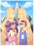 1boy 1girl ash_ketchum bangs baseball_cap blue_jacket border bow clouds commentary_request dark-skinned_female dark_skin day dragonite eyelashes gen_1_pokemon hair_tie hat highres iris_(pokemon) jacket leggings long_hair mei_(maysroom) number open_mouth outdoors pink_bow pokemon pokemon_(anime) pokemon_(creature) pokemon_bw_(anime) pokemon_swsh_(anime) purple_hair shirt shorts sky sleeveless sleeveless_jacket smile t-shirt tied_hair tongue upper_teeth watermark white_border white_legwear white_shirt |d