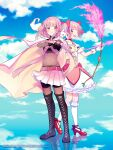 2girls aiming aniplex ankle_ribbon arrow_(projectile) back-to-back bangs belt bike_shorts black_footwear black_gloves blue_sky blunt_bangs bodystocking boots bow bow_(weapon) braid bubble_skirt buttons center_frills chain clenched_hand cloak closed_mouth clouds cloudy_sky collarbone commentary_request copyright_name cover cover_page creature creature_on_shoulder crop_top cross-laced_footwear crossbow dot_nose eyebrows_visible_through_hair fire flame flat_chest floating_hair flower frilled_legwear frilled_skirt frills fuji_fujino full_body gloves glowing groin hair_ribbon hand_on_own_arm highres holding holding_bow_(weapon) holding_weapon hood hood_down kaname_madoka kyubey leaf legs_together light_blush light_particles light_rays looking_at_another looking_at_viewer looking_to_the_side magia_record:_mahou_shoujo_madoka_magica_gaiden mahou_shoujo_madoka_magica midriff multiple_girls navel official_art on_shoulder open_mouth pink_belt pink_bow pink_eyes pink_flower pink_hair pink_rose pink_skirt pleated_skirt puffy_short_sleeves puffy_sleeves red_footwear red_ribbon reflection reflective_floor ribbon rose shiny shiny_hair short_sleeves sidelocks skirt sky smile socks soul_gem standing straight_hair tamaki_iroha thigh-highs thigh_boots turtleneck twin_braids waist_bow weapon white_cloak white_gloves white_legwear white_skirt zettai_ryouiki