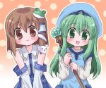 2girls :d bangs blue_dress blue_headwear blue_skirt blush brown_eyes brown_hair closed_mouth collared_shirt cosplay costume_switch cowboy_shot crossover detached_sleeves dress eyebrows_visible_through_hair fortune_summoners frog_hair_ornament gradient gradient_background green_eyes green_hair hair_between_eyes hair_ornament hair_tubes hizukiryou holding holding_staff kochiya_sanae kochiya_sanae_(cosplay) long_hair looking_at_viewer multiple_girls nontraditional_miko open_mouth orange_background sana_poanet sana_poanet_(cosplay) shirt short_hair skirt sleeveless sleeveless_shirt smile snake_hair_ornament staff third-party_source touhou white_shirt white_sleeves