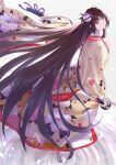 1girl absurdres bangs black_hair clogs fate/grand_order fate_(series) flower hair_flower hair_ornament highres holding holding_sword holding_weapon japanese_clothes kara_no_kyoukai katana kimono long_hair looking_at_viewer looking_back petals reflection ripples ryougi_shiki simple_background solo standing standing_on_liquid sword takubon very_long_hair violet_eyes weapon white_background