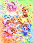4girls autumn_leaves bangs barefoot black_hairband blue_eyes blue_headwear blue_shirt blush bow brown_hair brown_vest closed_mouth commentary_request dress eyebrows_visible_through_hair fairy flower frilled_dress frills full_body green_eyes hair_between_eyes hair_ornament hairband highres hizukiryou leaves_in_wind multiple_girls open_mouth original outstretched_arms personification pink_dress pink_flower purple_skirt red_bow seasons shirt short_hair skirt smile snowflake_hair_ornament snowflakes socks sunflower tomato vest white_shirt yellow_flower yellow_skirt