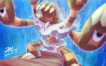 barbaracle claws closed_eyes commentary_request dated gen_6_pokemon no_humans null_suke pokemon pokemon_(creature) signature solo standing water