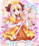 1girl :d bangs black_bow blush bow commentary_request cowboy_shot dress dress_bow elbow_gloves eyebrows_visible_through_hair frilled_dress frills gloves hair_between_eyes hair_bow highres hizukiryou holding holding_staff long_hair looking_at_viewer magical_girl open_mouth orange_bow orange_dress orange_headwear original puffy_short_sleeves puffy_sleeves red_eyes short_sleeves smile solo staff star_(symbol) white_gloves white_hair