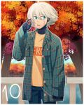 1boy ahoge android autumn autumn_leaves bangs black_pants blue_eyes border cheer_(cheerkitty14) danganronpa_(series) danganronpa_v3:_killing_harmony earphones earphones_removed english_commentary green_jacket grey_hair highres holding holding_phone jacket keebo leaf male_focus maple_leaf number open_clothes open_jacket open_mouth orange_shirt outdoors pants phone plaid plaid_jacket plaid_shirt shirt short_hair sideways_glance sleeves_past_wrists solo tree upper_teeth water white_border