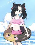 1girl alternate_costume asymmetrical_bangs bangs black_hair blush closed_mouth clouds collarbone commentary_request day eyelashes gen_8_pokemon green_eyes hair_ribbon highres innertube long_hair marnie_(pokemon) morpeko morpeko_(full) navel outdoors pink_swimsuit pokemon pokemon_(game) pokemon_swsh poyo_party red_ribbon ribbon sky solo standing swimsuit