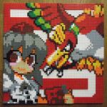 1girl background_text black_hair buttons camera closed_mouth gen_2_pokemon hat highres ho-oh holding holding_camera legendary_pokemon lego lego_(medium) looking_at_viewer photo_(medium) pixel_art pokemon pokemon_(creature) red_background red_eyes shameimaru_aya shirt short_hair short_sleeves smile tokin_hat touhou unconventional_media upper_body white_shirt wings you_rei_(blowback)