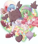 2girls :3 :d bangs blue_eyes blue_hair blush bow brown_cape brown_dress brown_eyes cape chocolate commentary_request cowlick demon deviruchi deviruchi_hat dress eyebrows_visible_through_hair full_body fur-trimmed_cape fur_trim green_hair hair_between_eyes hat heart heart_background high_priest_(ragnarok_online) high_wizard_(ragnarok_online) hizukiryou juliet_sleeves long_sleeves looking_at_viewer multiple_girls open_mouth puffy_sleeves ragnarok_online red_dress sash shoes short_dress short_hair smile thigh-highs two-tone_dress white_background white_bow white_dress white_legwear white_sash
