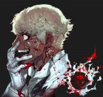 1boy blonde_hair blood blood_splatter copyright_request crazy_eyes dark_skin dark_skinned_male earrings from_side gloves grey_background hand_up jewelry long_sleeves male_focus open_mouth pigeon666 profile red_eyes short_hair simple_background smile solo white_gloves wide-eyed