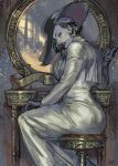 1girl alcina_dimitrescu black_gloves black_hair breasts dress earrings gloves hat jewelry lipstick looking_at_viewer makeup mirror necklace nisir0 pale_skin resident_evil resident_evil_village short_hair sitting solo stool sun_hat white_dress yellow_eyes