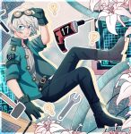 1boy ahoge alternate_costume arm_up bangs belt black_belt black_gloves blue_eyes boots border cheer_(cheerkitty14) cross-laced_footwear danganronpa_(series) danganronpa_v3:_killing_harmony english_commentary flower from_side gloves goggles goggles_on_head green_jacket grey_hair grey_sweater hammer highres jacket jewelry keebo knee_boots lamp male_focus necklace open_clothes open_jacket short_hair solo sweater tools white_border wrench