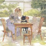 animal animal_focus black_cat black_shirt blue_dress blue_eyes building bush cat chair clothed_animal cravat cup dress frilled_dress frilled_shirt_collar frills grass grey_cat highres holding holding_cup kitten long_dress looking_at_another no_humans orange_cat original outdoors plate rt0no shirt sitting standing stool table teacup tree white_cat white_neckwear