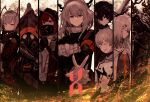 3boys 5girls animal_ears antenna_hair arknights armband bannnouyakunta black_dress black_gloves black_hair black_jacket closed_mouth clouds commentary_request covered_mouth crownslayer_(arknights) detonator dragon_horns dress faust_(arknights) fingerless_gloves fire frostnova_(arknights) gas_mask gloves grey_eyes grey_hair hair_ornament hairclip highres holding_remote_control hood hood_up horns jacket looking_at_viewer medium_hair mephisto_(arknights) multiple_boys multiple_girls nail_polish parted_lips patriot_(arknights) pointy_ears profile rabbit_ears reaching_out red_eyes red_nails redhead reunion_logo_(arknights) shirt short_hair skullshatterer_(arknights) smile sparks talulah_(arknights) w_(arknights) white_jacket white_shirt