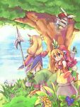 2girls bangs blonde_hair blue_dress blue_eyes boots brown_footwear closed_mouth commentary_request dress eyebrows_visible_through_hair flower full_body grass green_pants hair_between_eyes hizukiryou holding holding_spear holding_weapon imu_(lom) legend_of_mana long_hair multiple_girls pants plant polearm pot rabbit rabite seiken_densetsu short_hair smile spear standing tree weapon yellow_flower