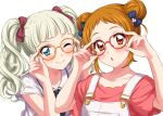 adjusting_eyewear aikatsu! aikatsu!_(series) arisugawa_otome bangs black_neckwear black_ribbon blonde_hair blue_bow blue_eyes blunt_bangs blush bow closed_mouth double_bun fang fang_out glasses green_shirt hair_bow hands_up looking_at_viewer neck_ribbon one_eye_closed orange-framed_eyewear overalls parted_lips red-framed_eyewear red_bow ribbon school_uniform sekina serafuku shirt short_sleeves simple_background smile toudou_yurika twintails white_background