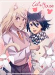 1boy 1girl :d ahoge akamatsu_kaede animal_ear_fluff animal_ears bangs blonde_hair blush border breasts cat_ears cat_girl cat_tail checkered checkered_scarf cheer_(cheerkitty14) collared_shirt cowboy_shot danganronpa_(series) danganronpa_v3:_killing_harmony eighth_note extra_ears hair_between_eyes hair_ornament hairclip hand_up highres jacket long_hair long_sleeves looking_at_viewer medium_breasts medium_hair mouse_boy mouse_ears mouse_tail musical_note musical_note_hair_ornament necktie open_mouth ouma_kokichi pink_eyes pink_vest pleated_skirt purple_hair scarf school_uniform shirt sideways_glance skirt smile straitjacket sweater_vest tail upper_teeth vest violet_eyes white_border white_shirt